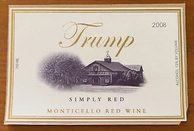 "Donald Trump Wines, Rare ! 2008 ""simply Red"" Wine Label ! Wow !"
