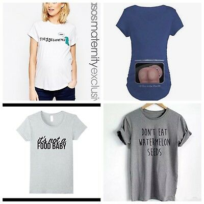 Ladies Maternity Pregnancy Slogan Tshirts Tops, Size 12 - 14's, worn once only