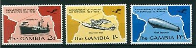 Gambia 1969 35th Anniv. Pioneer Air Service full set of stamps. Mint. Sg 259-261