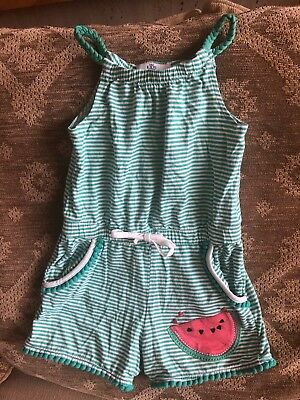 M&S Kids Summer Playsuit - Watermelon & Pompom - Green & White - Aged 3-4 Years