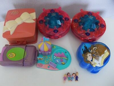 vintage polly pockets x6 play sets + dolls -disney beauty & beast dinner party +