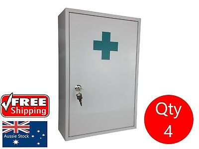 4 X First Aid Medical Cabinet Kit Medicne Box Steel Lock And Key Large