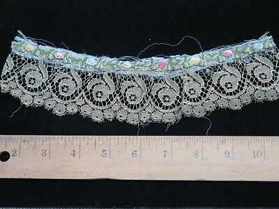 "Antique French Silk Ribbonwork W/ Metallic Rose Lace Trim c1900~9.5""LX2""W~Dolls"