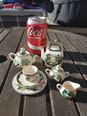 Collection of Miniature Mason's Ironstone Chartreuse teapot cup saucer plate etc