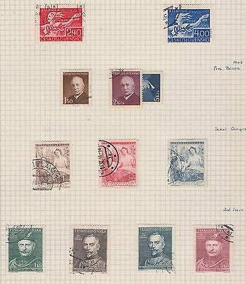 CZECHOSLOVAKIA 1947-48 Pres. Benes, Sokol, etc on Old Book Pages,as per scan #