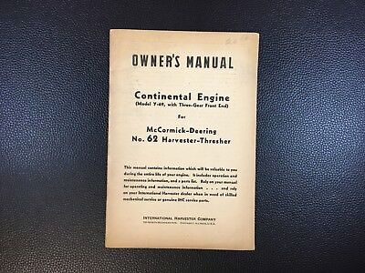 Original INTERNATIONAL Continental Engine Model Y-69 Owner's Operator's Manual
