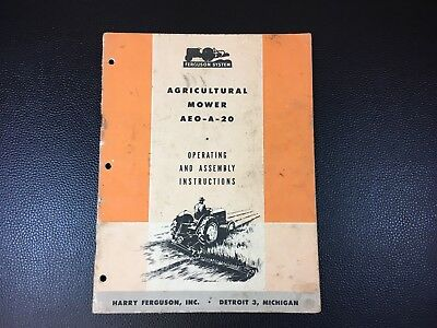 Original Harry Ferguson Agricultural Mower AEO-A-20 Owner's Operator's Manual