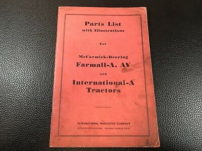 Original INTERNATIONAL McCormick Farmall-A AW Tractors Parts List Catalog