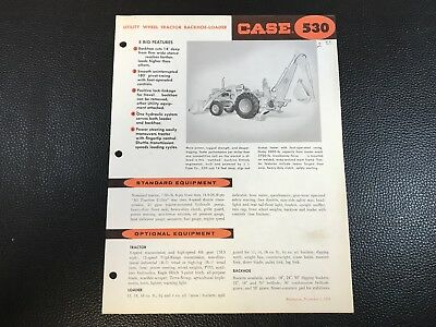 Original CASE 530 Utility Tractor Backhoe Loader Dealer Sales Spec Sheet