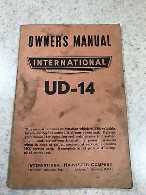 Original INTERNATIONAL HARVESTER UD-14 Owner's Operator's Manual
