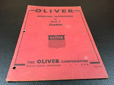 Original OLIVER Model 2 Combine Owner's Operator's Manual