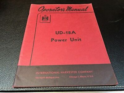 Original INTERNATIONAL UD-18A Power Unit Owner's Operator's Manual