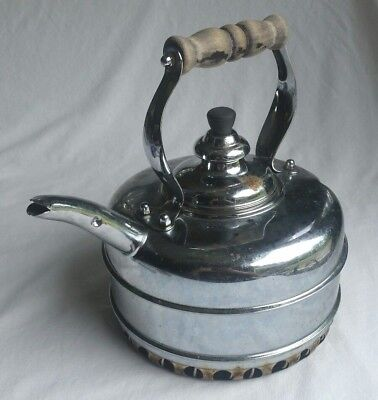 Vintage Simplex Tea Kettle Chrome Over Copper Quick Boil Coil England Gas Stoves