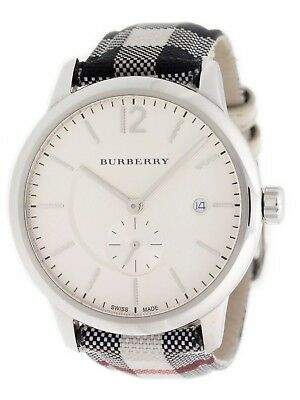 371ae4dbe6044 BURBERRY SILVER DIAL SS Textile Quartz Men s Watch BU10002   1 YEAR ...