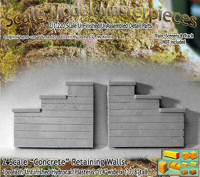 "Z Scale ""Formed Concrete"" Retaining Walls Scale Model Masterpieces NEW PRODUCT!"