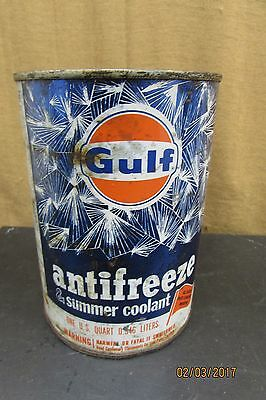 Gulf Antifreeze Summer Coolant Metal Can Vintage / Full Can