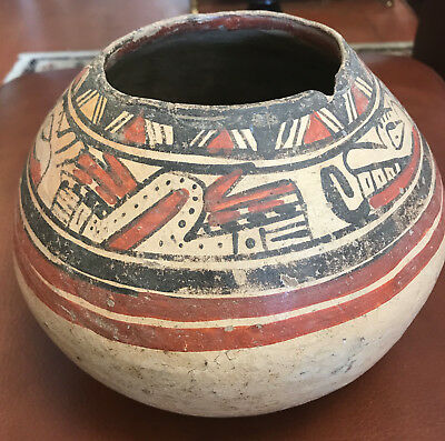 Early Native American Indian Water Bowl Pottery Painted