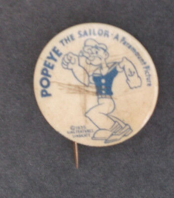 Vintage 1935 Popeye The Sailor  Paramount Picture Pin  Button  - ESTATE FIND
