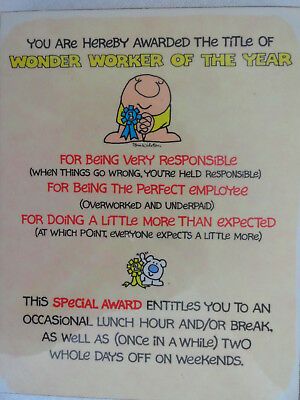 VINTAGE ZIGGY for WONDER WORKER OF THE YEAR AWARD PLAQUE  1982
