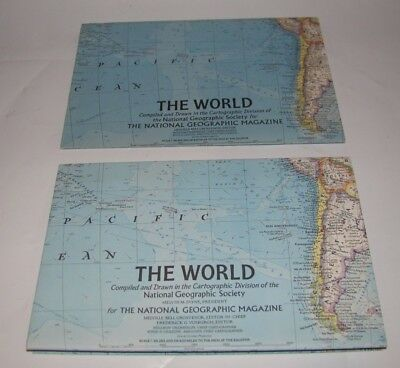 Lot (2) Vintage National Geographic Magazine The World Map Inserts 1965 1970
