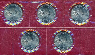 Lot (5) 1989 Marshall Island $5 Coin **first Man On The Moon** Cool Coins!