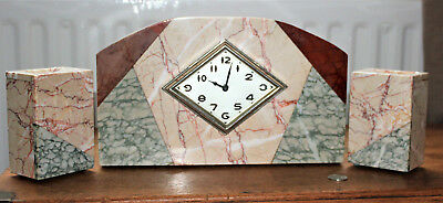 Art Deco Marble Clock with 2 Side Garnitures
