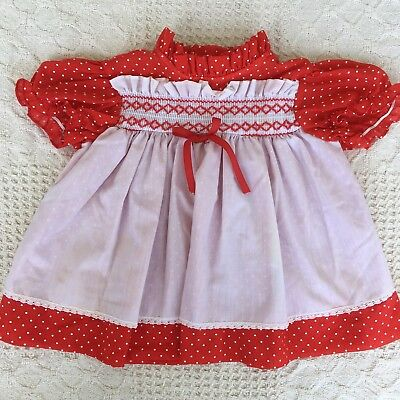 Vintage Smocked Baby Dress Red with White Polka Dots Size 18 Months Dotted