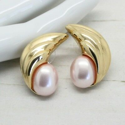 Vintage Signed Trifari Gold Plated and Faux Pearl Crescent Earrings Jewellery