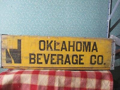 """Vintage Oklahoma Beverage Co Wooden Crate/box,carrier Open Handles,12"""" X 18"""""""