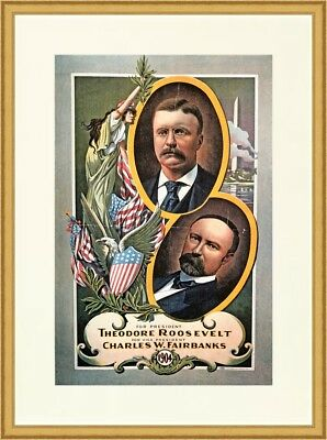 Theodore Roosevelt Reproduction Presidential 1904 Campaign Poster Custom Framed
