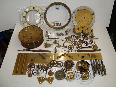 Complete Clock Brass Plates Antique Dial Star Wheels Cogs Gears Clockmakers L438