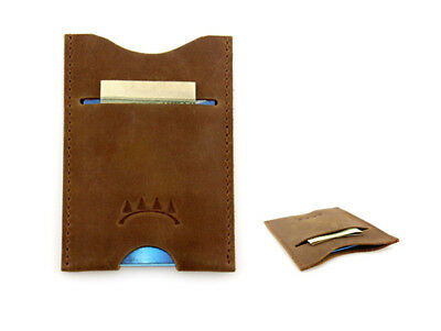Top Grain Leather Slim Card Holder / Wallet / Case, Holds up to 5 Cards & Cash
