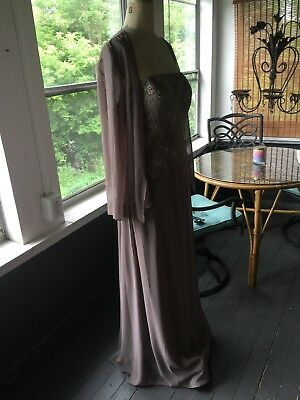 Mother Of The Bride Size 14 Beige stone Lace NWOT Bridesmaids Formal Gown NWOT