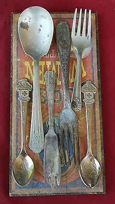 Lot - 6 Mixed Old Silverplate Vintage Flatware Silverware - Glued to Wood