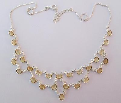 50% OFF!!! STYLISH ELEGANCE!!! HAND MADE 26 Gems CITRINE Sterl Silver NECKLACE