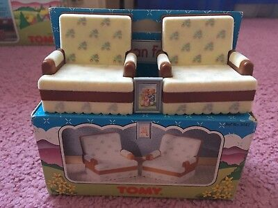 Vintage Sylvanian Families Floral Lounge Chairs TOMY (Boxed)