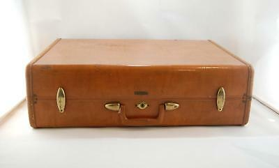 VTG 1950s Samsonite Shwayder Brown Hardshell Travel Suitcase Luggage #4636