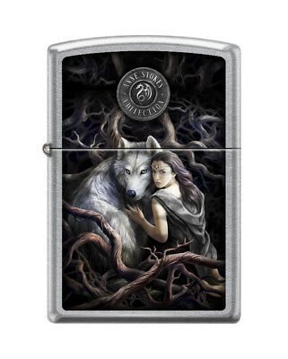 "Zippo ""Anne Stokes-Wolf With Woman"" Street Chrome Finish Lighter, 5815"