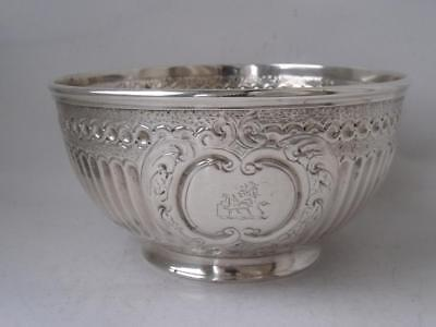 Crested Antique Victorian Solid Sterling Silver Bowl 1872/ Dia 11.4 cm/ 151 g