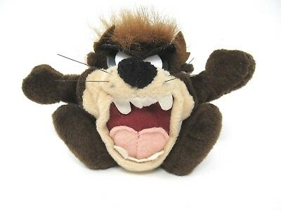 """Tazmanian Devil Looney Tunes 4"""" Plush Bean Keychain Zip Pouch 1997 With Tag"""