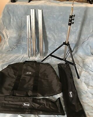 Photek stand w/ backdrop blue and poles SELLING AS IS PLEASE SEE DESCRIPTION