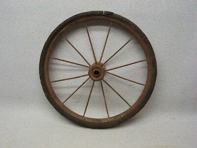 Very Vintage Buggy Cart Wagon WHEEL w/ Original Hard Rubber Tire