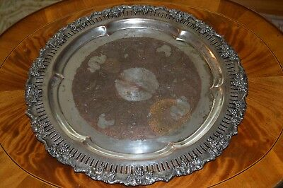 """Vintage Crescent Silver Plated On Copper Round Serving Tray  16.5"""""""