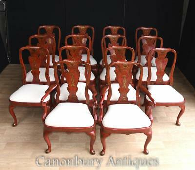 Chinese Dining Chairs - Red Lacquer Set 14 Chinoiserie