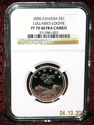 """2006 Canada $1 """"lullabies Loonie"""" Silver Coin - Ngc Pf 70 Ultra Cameo (Pop=8)"""