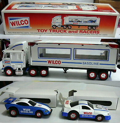 1998 Wilco Gasoline Toy Truck and 2 Wilco Race Cars-Working Lights