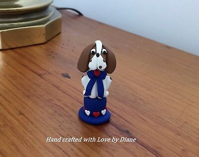 Miniature Hand Crafted Polymer Clay Patriotic Basset Hound or Beagle