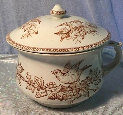 Antique Ironstone Brown Transfer ware Aesthetic Chamber Slop Pot with Lid