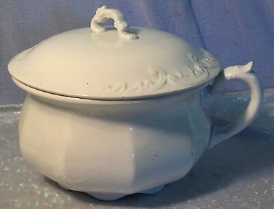 Vintage Antique White Ironstone Slop Jar Chamber Pot with Lid by Vashti EPP Co.