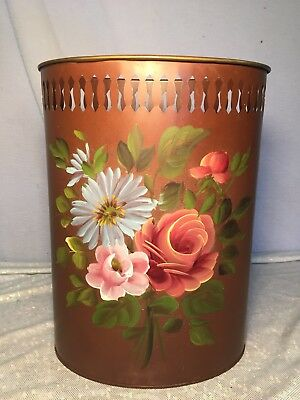 Vintage Hand Painted Toleware Reticulated Waste Garbage Metal Can 12.5 x 9.5""